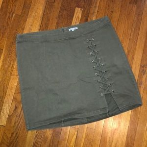 Olive green lace up skirt